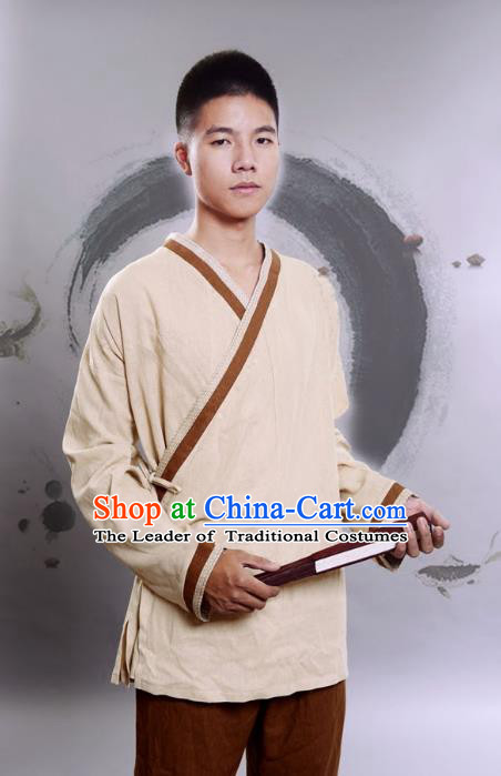 Traditional Chinese Han Dynasty Nobility Childe Hanfu Costume Slant Opening Khaki Linen Shirt, China Ancient Martial Arts Upper Garment Clothing for Men