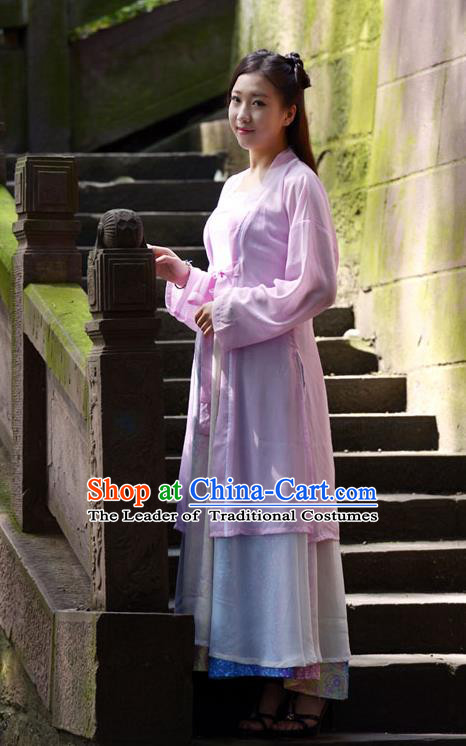 Traditional Chinese Han Dynasty Young Lady Hanfu Costume, China Ancient Princess Pink Dress Clothing for Women