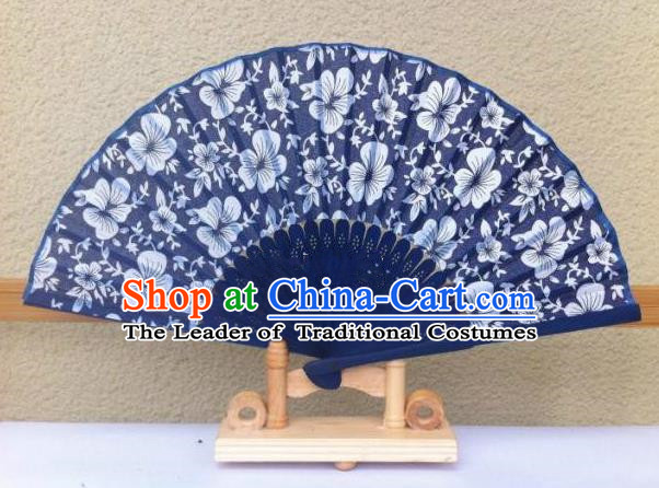 Traditional Chinese Crafts Peking Opera Folding Fan China Sensu Handmade Chinese Navy Fan for Women