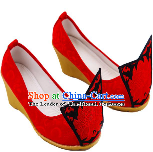 Traditional Chinese Ancient Wedding Cloth Shoes, China Princess Wedding Shoes Hanfu Handmade Embroidery Red Become Warped Head Shoe for Women