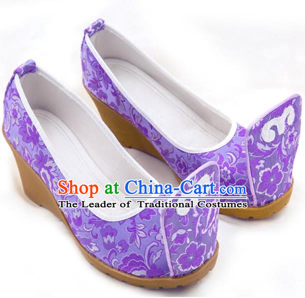 Traditional Chinese Ancient Wedding Cloth Shoes, China Princess Shoes Hanfu Handmade Embroidery Purple Become Warped Head Shoe for Women
