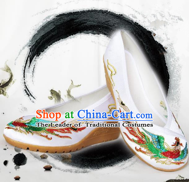 Traditional Chinese Ancient Wedding Cloth Shoes, China Princess Shoes Hanfu Handmade Embroidery Phoenix Shoe for Women
