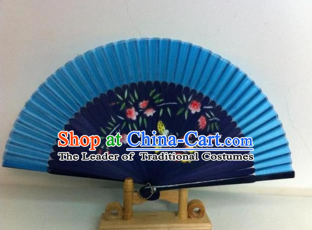 Traditional Chinese Crafts Peking Opera Folding Fan China Sensu Handmade Chinese Painting Navy Fan for Women