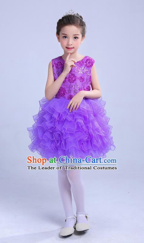Top Grade Chinese Compere Professional Performance Catwalks Costume, Children Princess Bubble Purple Full Dress Modern Dance Dress for Girls Kids