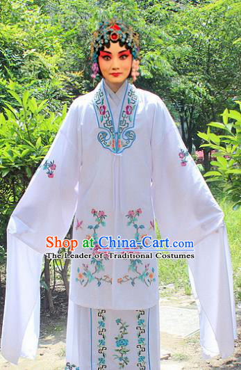 Traditional China Beijing Opera Young Lady Hua Tan Costume Embroidered White Water Sleeve Cape, Ancient Chinese Peking Opera Female Diva Embroidery Dress Clothing