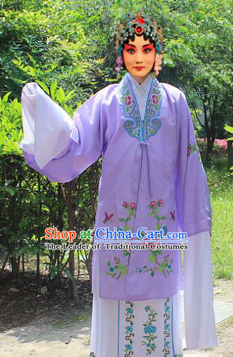 Traditional China Beijing Opera Young Lady Hua Tan Costume Embroidered Purple Cape, Ancient Chinese Peking Opera Female Diva Embroidery Dress Clothing