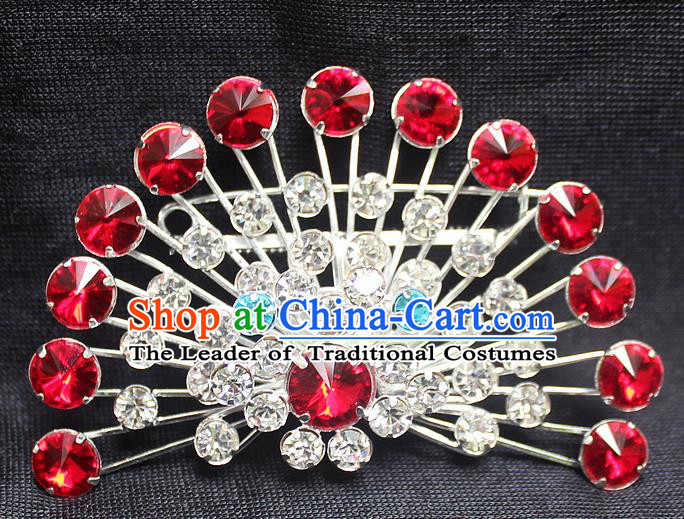 Traditional China Beijing Opera Young Lady Jewelry Accessories Collar Brooch, Ancient Chinese Peking Opera Hua Tan Diva Red Crystal Fanshaped Breastpin