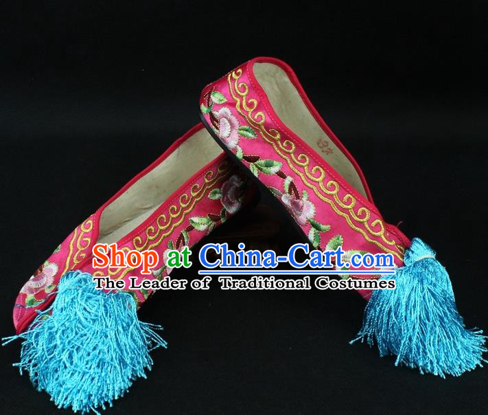 Traditional China Beijing Opera Hua Tan Embroidered Red Shoes, Ancient Chinese Peking Opera Young Lady Diva Princess Blood Stained Shoes