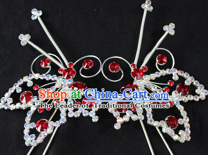 Traditional China Beijing Opera Young Lady Hair Accessories, Ancient Chinese Peking Opera Hua Tan Diva Red Crystal Butterfly Hairpins