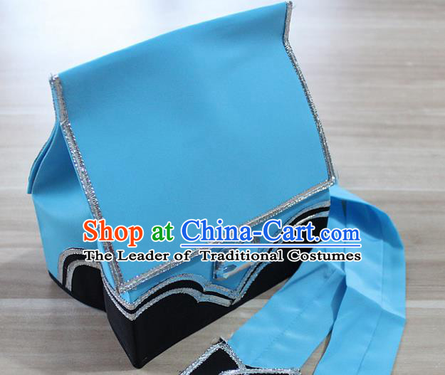 Traditional China Beijing Opera Young Men Hair Accessories Headwear, Ancient Chinese Peking Opera Niche Hat Blue Kerchief