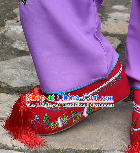 Traditional China Beijing Opera Hua Tan Embroidered Shoes, Ancient Chinese Peking Opera Young Lady Diva Princess Red Blood Stained Shoes