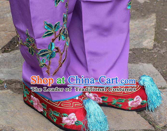 Traditional China Beijing Opera Hua Tan Embroidered Red Shoes, Ancient Chinese Peking Opera Young Lady Diva Princess Embroidery Blood Stained Shoes