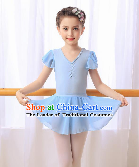 Chinese Dai Nationality Modern Dance Costume, Children Opening Classic Ballet Dance Blue Dress for Girls Kids