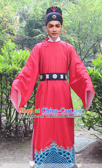 Traditional China Beijing Opera Niche Costume Zhan Zhao Imperial Bodyguard Robe and Headwear, Ancient Chinese Peking Opera Embroidery Red Gwanbok Clothing