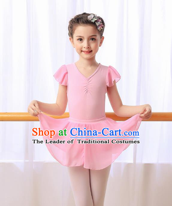 Chinese Modern Dance Costume, Children Opening Classic Ballet Dance Pink Dress for Girls Kids