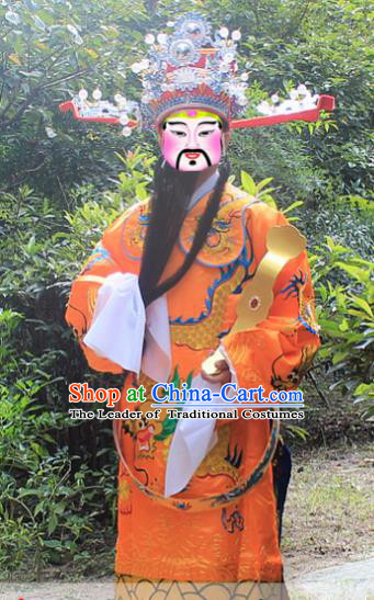 Traditional China Beijing Opera Costume God of Wealth Embroidered Robe and Headwear Complete Set, Ancient Chinese Peking Opera Gwanbok Clothing