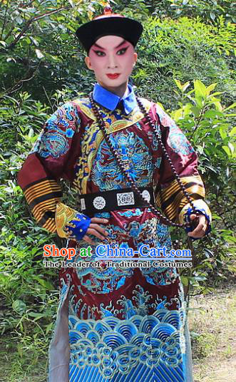 Traditional China Beijing Opera Niche Costume Qing Dynasty Eunuch Embroidered Robe and Hat, Ancient Chinese Peking Opera Manchu Royal Highness Embroidery Purple Gwanbok Clothing