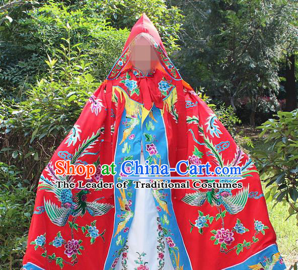 Traditional China Beijing Opera Young Lady Costume Diva Embroidered Red Cloak, Ancient Chinese Peking Opera Hua Tan Embroidery Cape Clothing