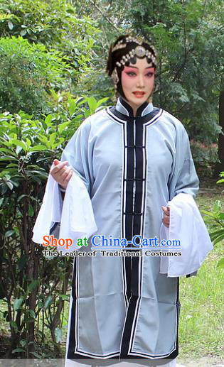Traditional China Beijing Opera Costume Old Women Cape, Ancient Chinese Peking Opera Pantaloon Grey Dress Clothing