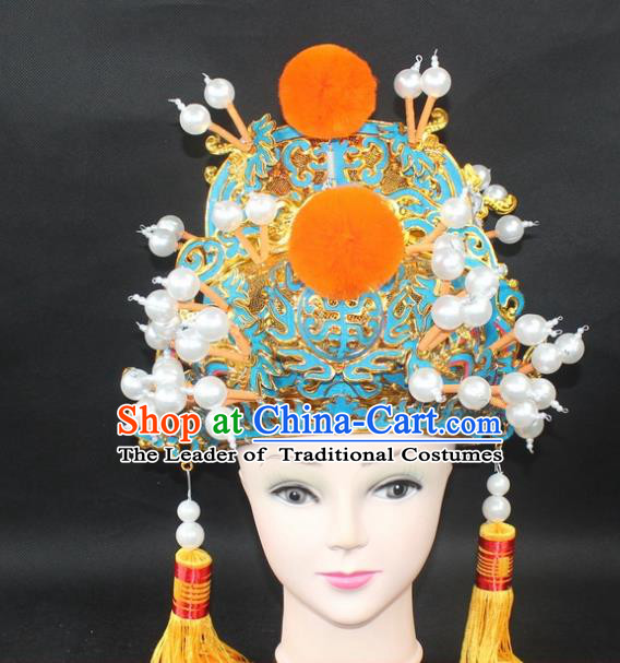 Traditional China Beijing Opera Young Men Hair Accessories Emperor Hat, Ancient Chinese Peking Opera King Official Hat Headwear