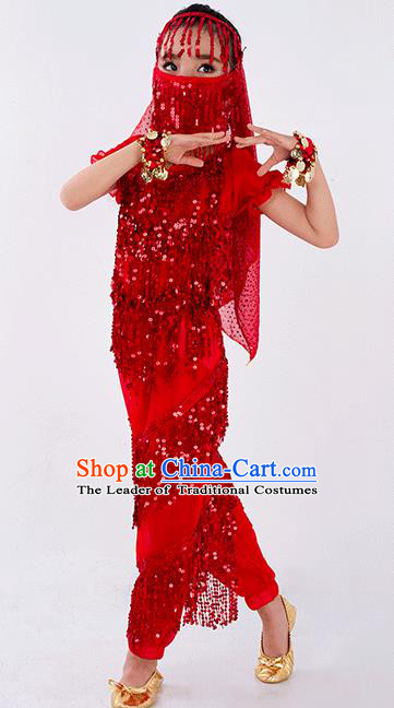 Traditional Indian Classical Dance Belly Dance Costume and Headwear, India China Uyghur Nationality Dance Clothing Red Uniform for Kids