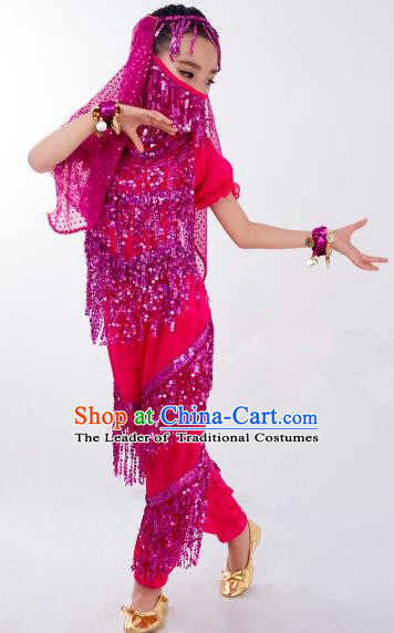 Traditional Indian Classical Dance Belly Dance Costume and Headwear, India China Uyghur Nationality Dance Clothing Rosy Uniform for Kids
