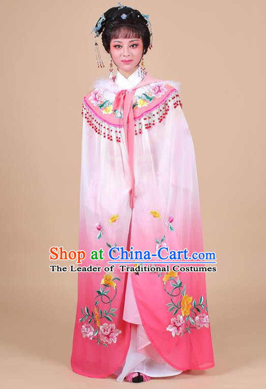 Traditional China Beijing Opera Young Lady Hua Tan Costume Female Pink Embroidered Cloak, Ancient Chinese Peking Opera Diva Embroidery Mantle Clothing