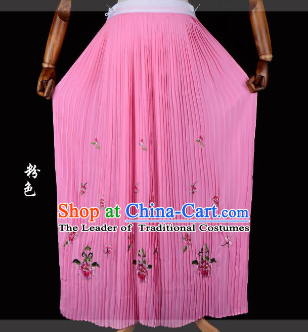 Traditional China Beijing Opera Young Lady Hua Tan Costume Female Embroidered Pink Pleated Skirt, Ancient Chinese Peking Opera Diva Embroidery Peony Dress Bust Skirt