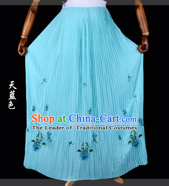 Traditional China Beijing Opera Young Lady Hua Tan Costume Female Embroidered Blue Pleated Skirt, Ancient Chinese Peking Opera Diva Embroidery Peony Dress Bust Skirt