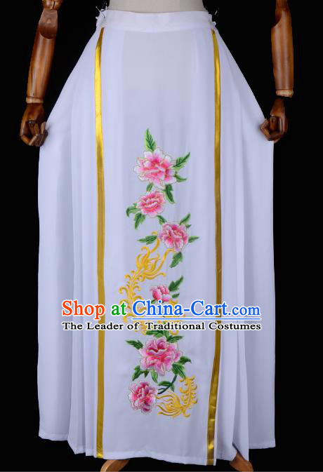 Traditional China Beijing Opera Young Lady Hua Tan Costume Embroidered Pleated Skirt, Ancient Chinese Peking Opera Diva Embroidery Peony Dress Bust Skirt