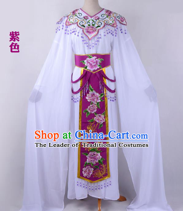 Traditional China Beijing Opera Young Lady Hua Tan Costume Cloud Shoulder Embroidered Clothing, Ancient Chinese Peking Opera Diva Embroidery Purple Dress Clothing