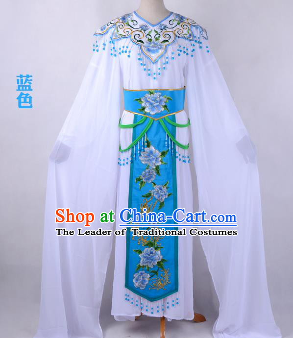 Traditional China Beijing Opera Young Lady Hua Tan Costume Cloud Shoulder Embroidered Clothing, Ancient Chinese Peking Opera Diva Embroidery Blue Dress Clothing