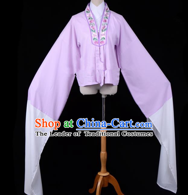 Traditional China Beijing Opera Young Lady Hua Tan Costume Princess Embroidered Purple Blouse, Ancient Chinese Peking Opera Diva Embroidery Water Sleeve Clothing