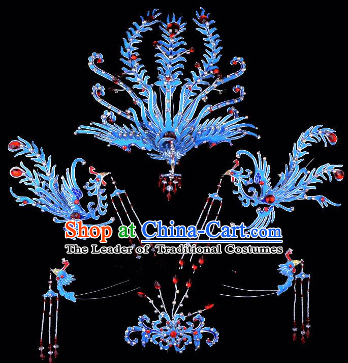 Traditional China Beijing Opera Young Lady Hair Accessories Blue Phoenix Head-ornaments Complete Set, Ancient Chinese Peking Opera Hua Tan Headwear Diva Headpiece