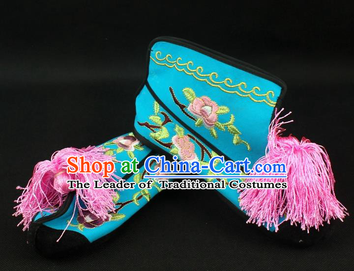 Traditional China Beijing Opera Female Warrior Embroidered Shoes, Ancient Chinese Peking Opera Blues Blue Boots