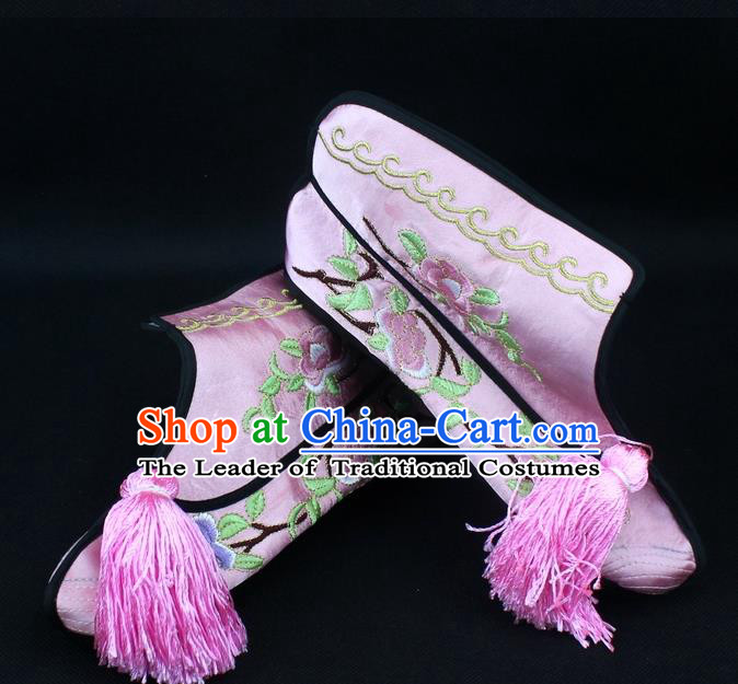 Traditional China Beijing Opera Female Warrior Embroidered Shoes, Ancient Chinese Peking Opera Blues Pink Boots