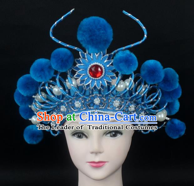 Traditional China Beijing Opera Swordplay Hair Accessories Blue Venonat Hat, Ancient Chinese Peking Opera Blues Headwear