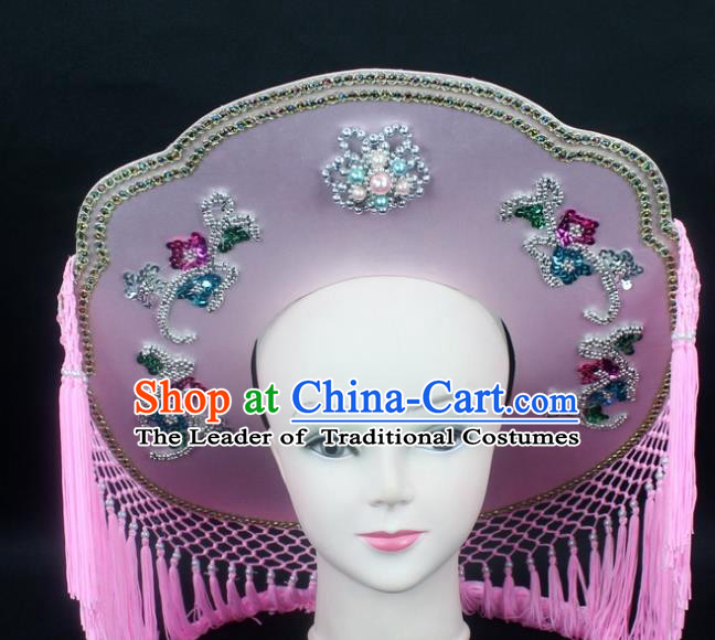 Traditional China Beijing Opera Hair Accessories Fisher-Woman Pink Hat, Ancient Chinese Peking Opera Swordplay Helmet Headwear