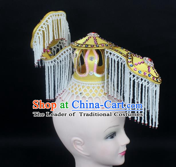 Traditional China Beijing Opera Hair Accessories Emperor Tassel Tuinga, Ancient Chinese Peking Opera King Headwear