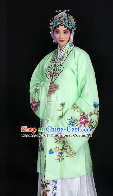 Traditional China Beijing Opera Young Lady Hua Tan Costume Light Green Embroidered Cape, Ancient Chinese Peking Opera Female Diva Embroidery Peony Dress Clothing