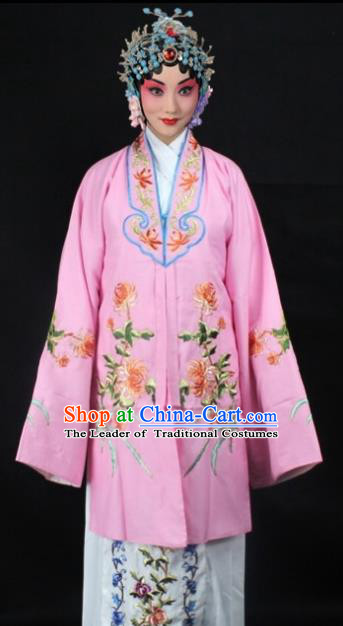 Traditional China Beijing Opera Young Lady Hua Tan Costume Pink Embroidered Shawl, Ancient Chinese Peking Opera Female Diva Embroidery Chrysanthemum Dress Clothing