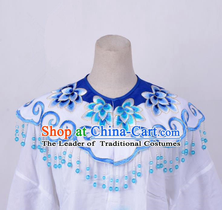 Traditional China Beijing Opera Young Lady Hua Tan Costume Princess Embroidered Blue Cloud Shoulder, Ancient Chinese Peking Opera Diva Embroidery Cappa Clothing
