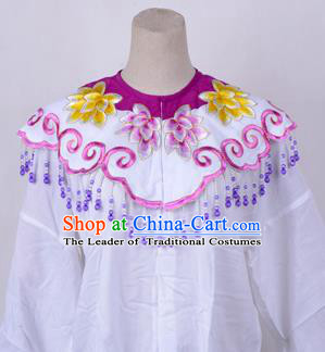 Traditional China Beijing Opera Young Lady Hua Tan Costume Princess Embroidered Purple Cloud Shoulder, Ancient Chinese Peking Opera Diva Embroidery Cappa Clothing