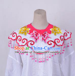 Traditional China Beijing Opera Young Lady Hua Tan Costume Princess Embroidered Peach Pink Cloud Shoulder, Ancient Chinese Peking Opera Diva Embroidery Cappa Clothing