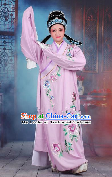 Traditional China Beijing Opera Niche Costume Gifted Scholar Purple Embroidered Robe and Hat, Ancient Chinese Peking Opera Young Men Embroidery Peony Clothing