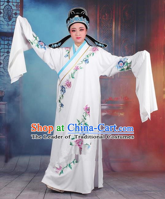 Traditional China Beijing Opera Niche Costume Gifted Scholar White Embroidered Robe and Hat, Ancient Chinese Peking Opera Young Men Embroidery Peony Clothing
