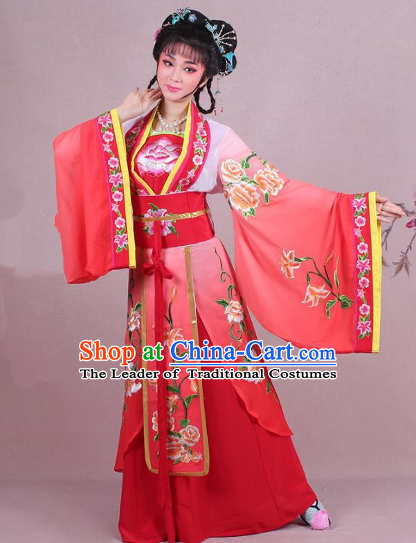 Traditional China Beijing Opera Palace Lady Costume Imperial Princess Embroidered Red Dress, Ancient Chinese Peking Opera Diva Hua Tan Embroidery Clothing