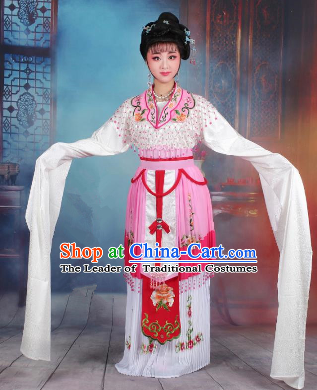 Traditional China Beijing Opera Young Lady Hua Tan Costume Romance of the Western Chamber Embroidered Cape, Ancient Chinese Peking Opera Diva Embroidery Dress Clothing