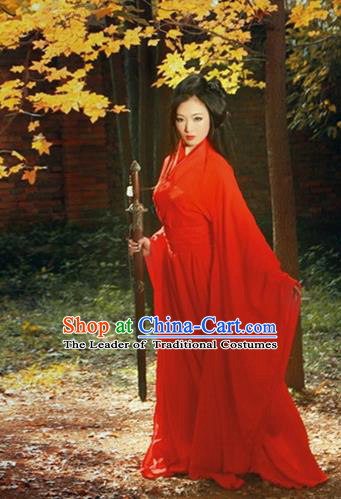 Traditional Chinese Tang Dynasty Chivalrous Woman Red Costume, Elegant Hanfu Clothing Chinese Ancient Swordswoman Dress Clothing