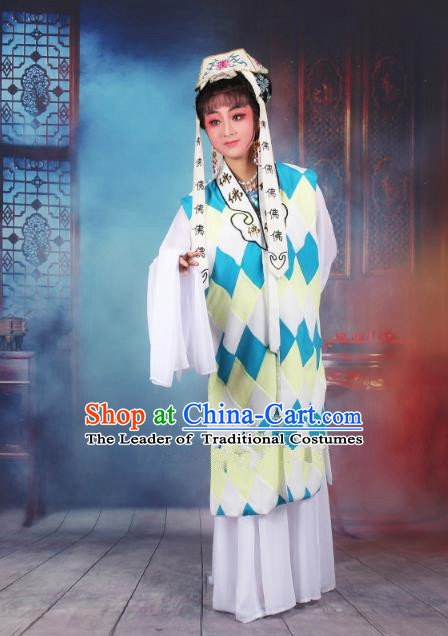 Traditional China Beijing Opera Taoist Nun Costume Woman Dress, Ancient Chinese Peking Opera Buddhist Clothing